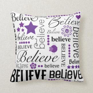 Believe Word Art Text Design Throw Pillow