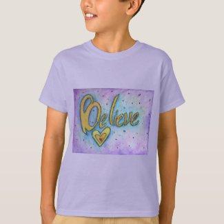 Believe Word Inspirational Custom Art T-shirts