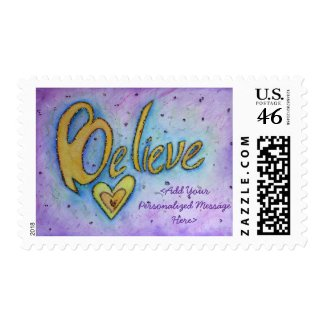 Believe Word Personalized Custom Postage Stamps stamp
