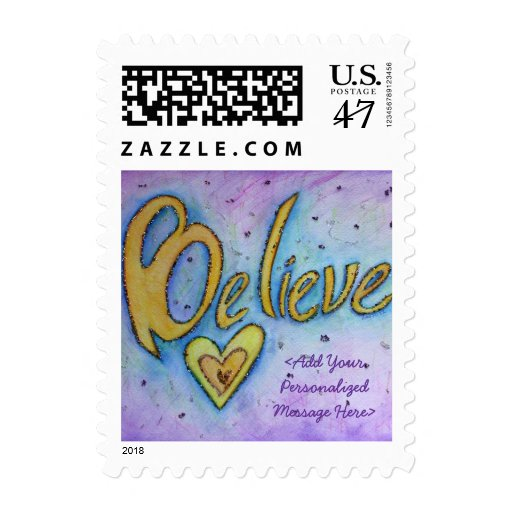 Believe Word Personalized Custom Postage Stamps