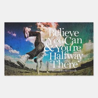 Believe You Can Boy Cartwheel Motivational Quote Rectangular Sticker