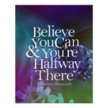 Believe You Can Butterfly Flower Motivational Poster