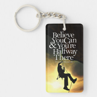 Believe You Can Rock Climber Motivational Quote Keychain