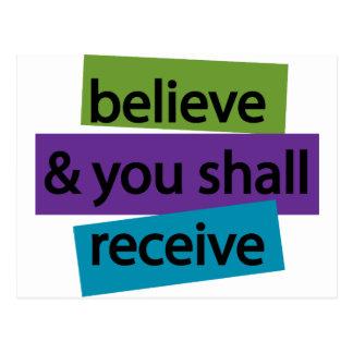 Believe & You Shall Receive II Postcard