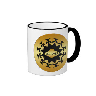 BELIEVER - GOLD ALIENS AND UFO RINGER COFFEE MUG