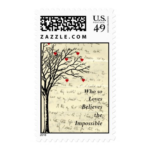 """""""Believes the Impossible"""" Heart Tree Love Letter Postage Stamp"""