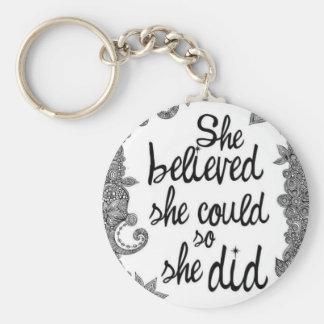 believing basic round button keychain
