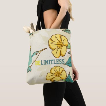 Beach Themed Belimitless- Humming bird with beautiful flowers Tote Bag