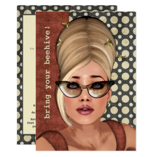 Belinda Beehive Retro Chic Medium Invitation