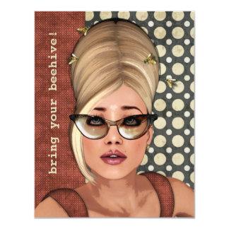 """Belinda Beehive Retro Chic Small Invitation 4.25"""" X 5.5"""" Invitation Card"""