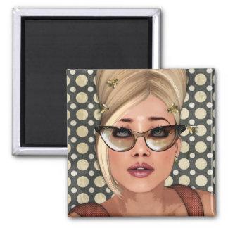 Belinda Beehive Retro Chic Square Magnet