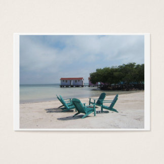 Belize Adirondack Pink Houses Turquoise Water Business Card