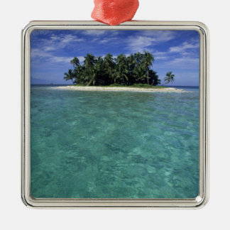 Belize, Barrier Reef, Unnamed island or cay. Square Metal Christmas Ornament