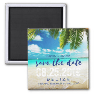 Belize Beach Destination Wedding Save the Date Magnet