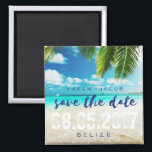 """Belize Beach Destination Wedding Save the Dates Magnet<br><div class=""""desc"""">Tropical beach destination wedding in Belize or other tropical beach or island location save the date magnets. Customize with your names, wedding date and location. To further customize, change font style, size or ink color - use the customize it feature. Contact me if you need assistance or would like further...</div>"""