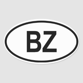 "Belize ""BZ"" Oval Sticker"
