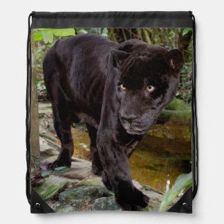 Belize City Zoo. Black panther Drawstring Backpack