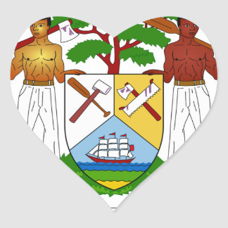 Belize Coat of Arms Heart Sticker