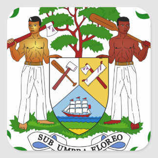 Belize Coat of Arms Square Sticker