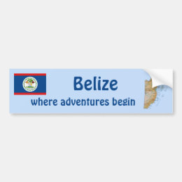 Belize Flag and Map Bumper Sticker