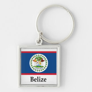 Belize Flag And Name Silver-Colored Square Keychain