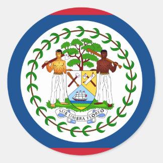 Belize Flag BZ Classic Round Sticker