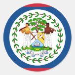 Belize Flag BZ Round Stickers