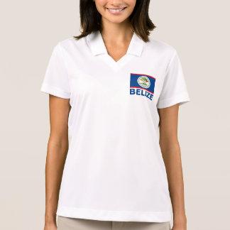 Belize Flag Customizable Blue Text Polo Shirt