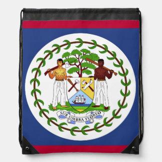 Belize Flag Drawstring Backpack
