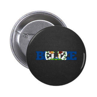 Belize flag font pinback button