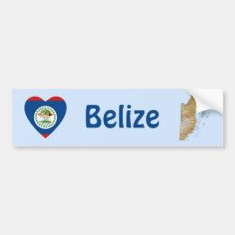 Belize Flag Heart + Map Bumper Sticker