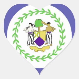 Belize Flag Heart Sticker