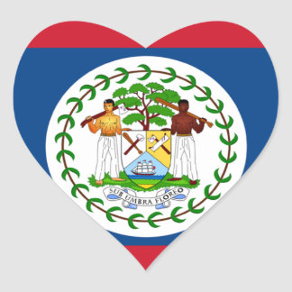 Belize Flag Heart Sticker
