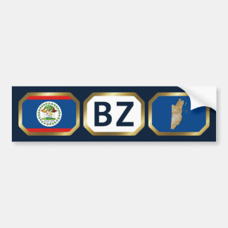 Belize Flag Map Code Bumper Sticker