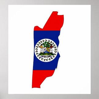 Belize Flag Map full size Poster