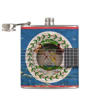 Belize Flag on Old Acoustic Guitar Hip Flask