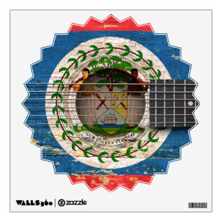 Belize Flag on Old Acoustic Guitar Wall Decal