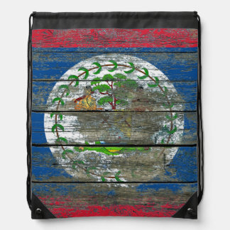 Belize Flag on Rough Wood Boards Effect Drawstring Backpack
