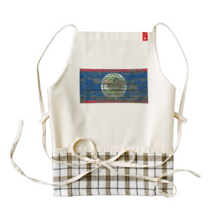 Belize Flag on Rough Wood Boards Effect Zazzle HEART Apron