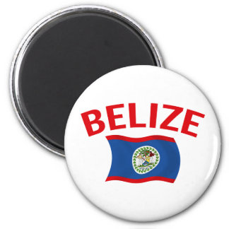 Belize Flag - Red 2 Inch Round Magnet