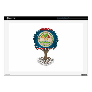 "Belize Flag Tree of Life Customizable Decal For 17"" Laptop"