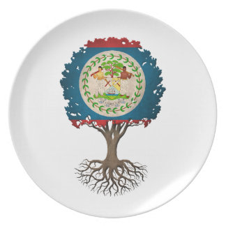 Belize Flag Tree of Life Customizable Dinner Plate