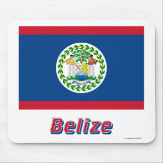 Belize Flag with Name Mouse Pad