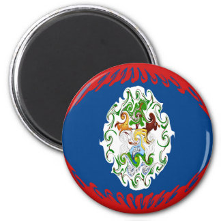 Belize Gnarly Flag 2 Inch Round Magnet