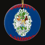 Belize Gnarly Flag Ceramic Ornament
