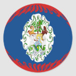 Belize Gnarly Flag Classic Round Sticker