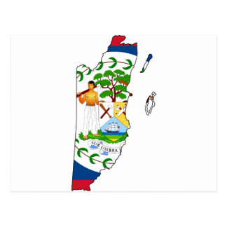 Belize map BZ Postcard