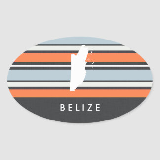 Belize Map: Modern Stripes Oval Sticker
