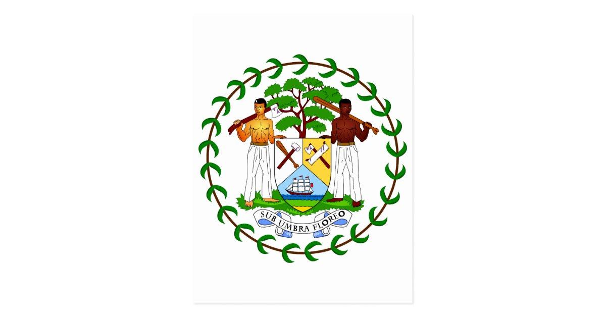 belize official coat of arms heraldry symbol postcard