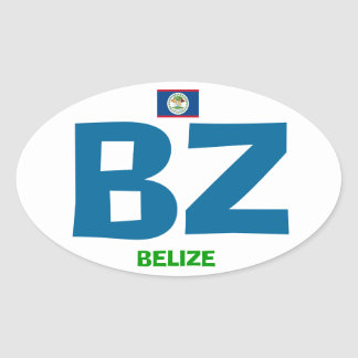Belize Oval Euro Style BZ Sticker